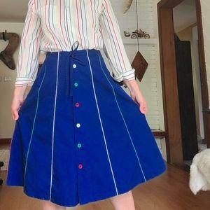 Vintage Retro Blue A-Line Skirt w/Rainbow Piping